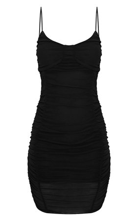 Black Mesh Ruched Panel Detail Bodycon Dress | PrettyLittleThing USA