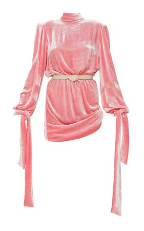 Mach & Mach Marble Pink Velvet Dynasty Dress