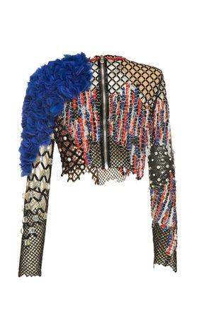 Balmain Torn Mesh Embroidered Top