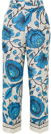 Cropped Printed Silk-twill Wide-leg Pants - Blue