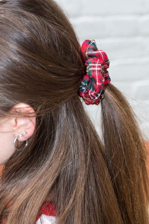 Red and Green Plaid Scrunchie - Hair Accessories - Accessories