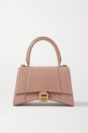 Sand Hourglass small croc-effect leather tote | Balenciaga | NET-A-PORTER