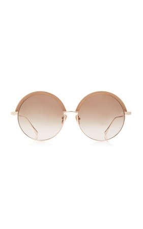 Linda Farrow Oversized Round-Frame Metal Sunglasses