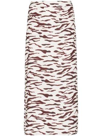Rejina Pyo Mina Tiger-Print Midi Skirt Ss20 | Farfetch.com