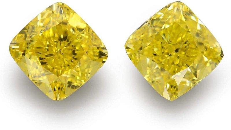 Amazon.com: 1.02 Carat Fancy Vivid Yellow Loose Diamond Natural Color Cushion Cut Pair GIA: Jewelry