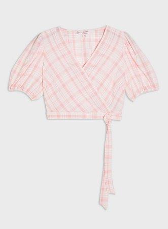 PETITE Pink Checked Puff Sleeve Blouse | Miss Selfridge