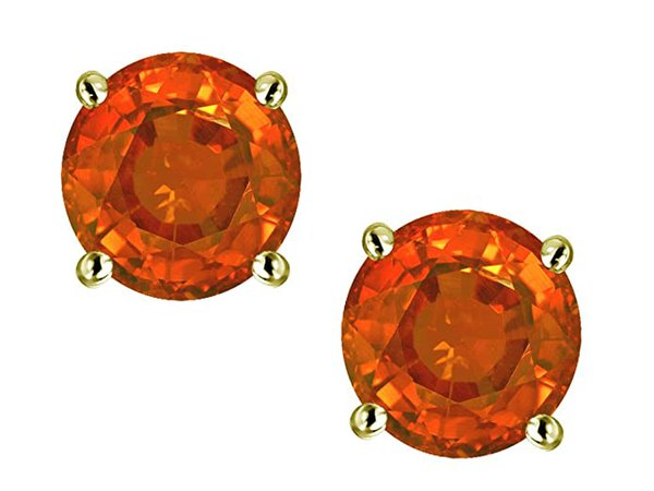 Amazon.com: Star K Round 6mm Simulated Orange Mexican Fire Opal Classic Screw Back Stud Earrings 14 kt Yellow Gold: Clothing