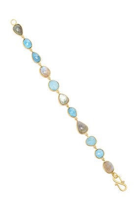 Bahina One of a Kind London Blue Aquamarine and Labradorite Bracelet