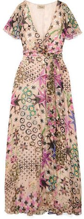 Claudette Printed Devoré Silk-blend Chiffon Wrap Maxi Dress - Beige