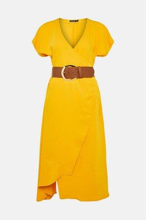 Soft Tailored Belted Wrap Dress   Karen Millen