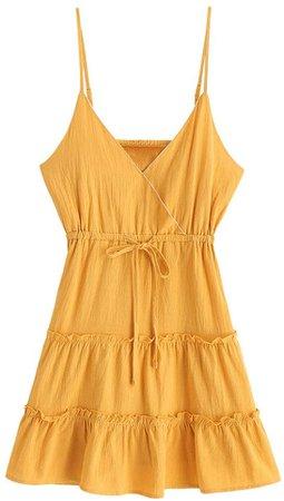 Amazon.com: ZAFUL Women's Mini Dress Spaghetti Straps Sleeveless Boho Beach Dress: Clothing