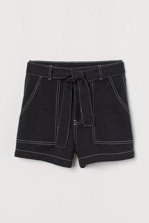Tie-belt Twill Shorts - Black
