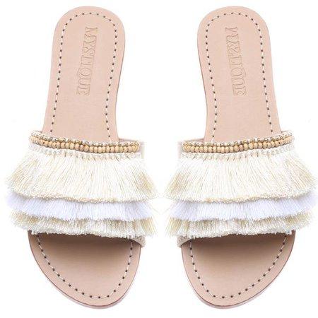 sandal fringe slide