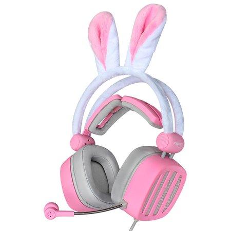 gamer bunny pink headphones