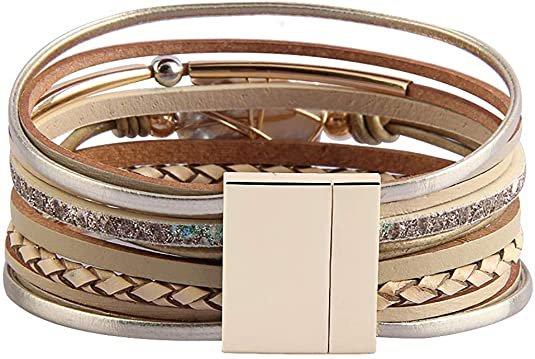 Amazon.com: Fesciory Leather Wrap Bracelet for Women, Leopard Multi-Layer Magnetic Buckle Cuff Bracelet Jewelry: Clothing, Shoes & Jewelry