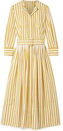 Striped Cotton-poplin Midi Dress - Saffron