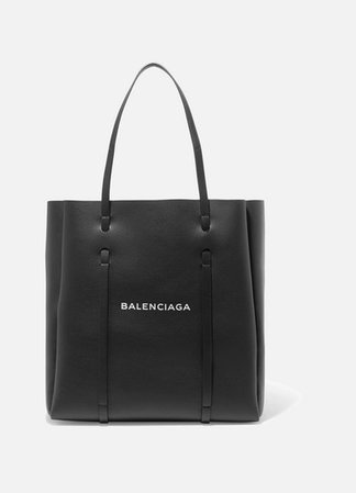 Printed Textured-leather Tote - Black