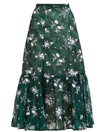 Claudina High Rise Floral Lace Midi Skirt - Womens - Green Multi