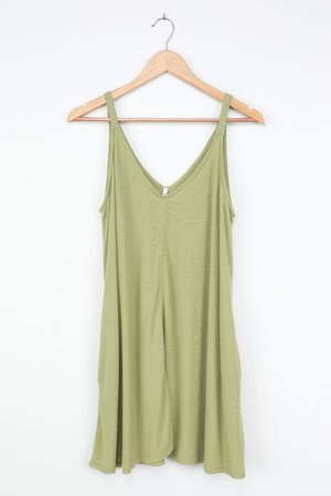 Cute Sage Dress - Swing Dress - Sleeveless Dress - Ribbed Dress - Lulus