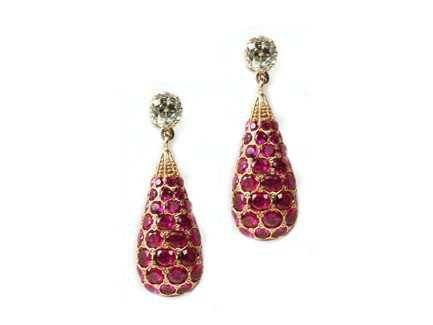Ruby Diamond Earrings W1 London: Ruby Drop Diamond earrings