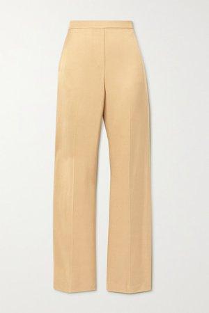 Twill Wide-leg Pants - Sand