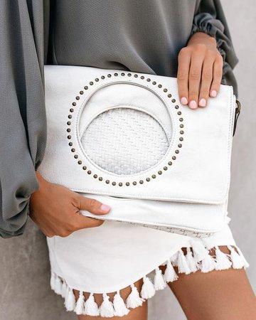 Madeline Studded Foldover Clutch - White – VICI