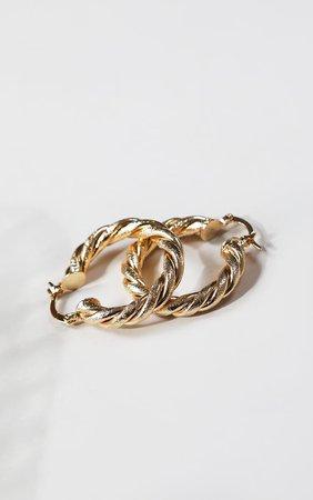 Gold Rope Twist Hoop Earrings | Accessories | PrettyLittleThing