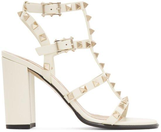 White Garavani Rockstud Caged Sandals