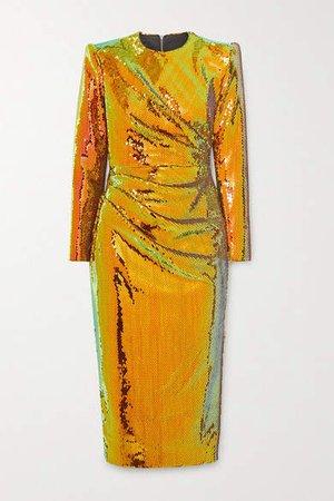 Kelsey Sequined Crepe Midi Dress - Gold