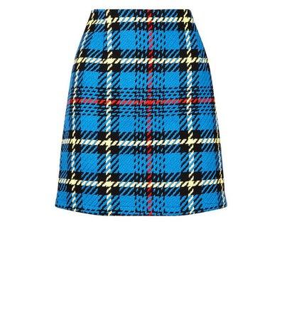 Blue Bouclé Check Mini Skirt | New Look