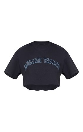 Black Miami Beach Slogan Crop T Shirt   Tops   PrettyLittleThing
