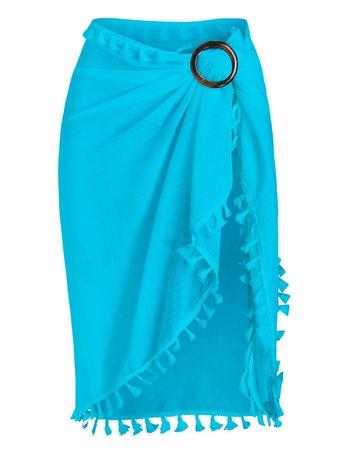[25% OFF] Tassel Sheer Wrap Cover Up Sarong Skirt | Rosegal