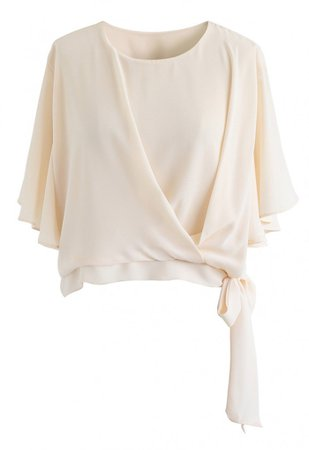 Bowknot Side Chiffon Cape Top in Cream - NEW ARRIVALS - Retro, Indie and Unique Fashion