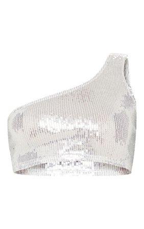 Silver One Shoulder Sequin Crop Top | PrettyLittleThing