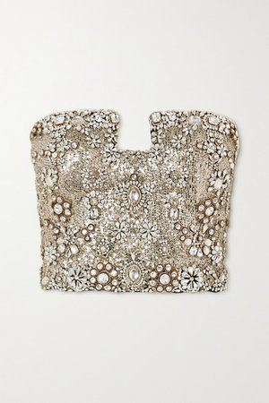 Crystal-embellished Sequined Silk-crepe Bustier Top - Black