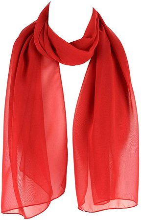 HatToSocks Chiffon Scarf Sheer Wrap for Women (Red) at Amazon Women's Clothing store