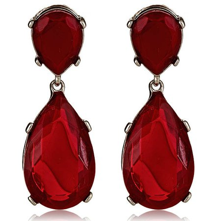 Ruby Red Hanging Earrings