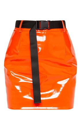 Orange Vinyl Mini Skirt