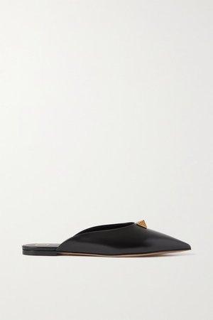 Garavani Upstud Leather Point-toe Flats - Black