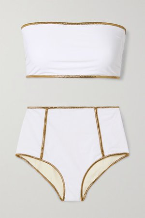 Montauk Lurex-trimmed Reversible Bandeau Bikini - White