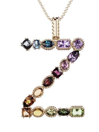 Dolce & Gabbana 18kt yellow gold initial Z gemstone necklace