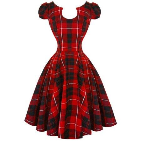 Hearts and Roses London Red Tartan Plaid Retro Vintage Rockabilly 1950s Dress | eBay
