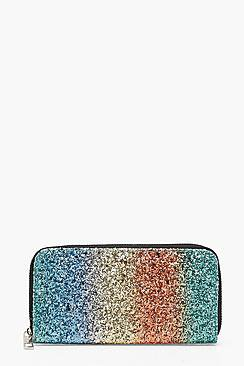 Leah Rainbow Glitter Zip Around Purse