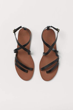 Strappy Leather Sandals - Black