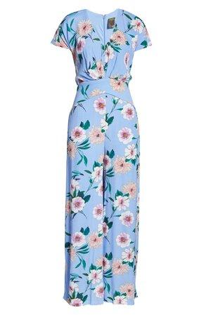 Taylor Dresses Floral Print Wide Leg Jumpsuit blue