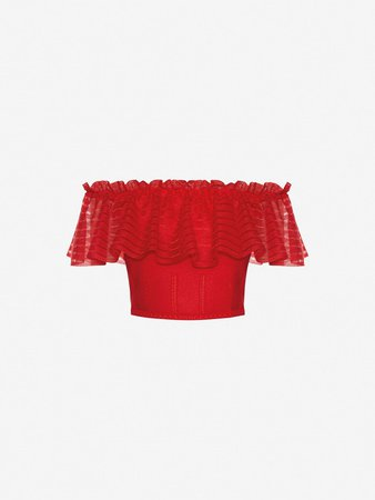 Women's Lust Red Sheer Knit Ruffle Crop Top   Alexander McQueen