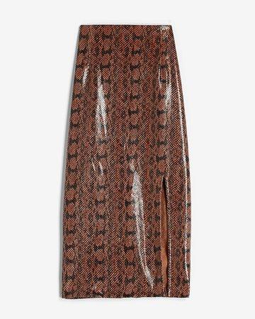 High Waisted Vegan Leather Snakeskin Pencil Skirt   Express