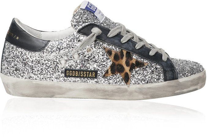Superstar Glitter Leather Sneakers