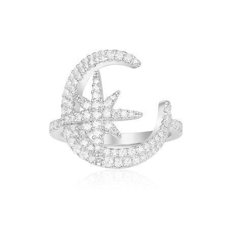 Silver MÉTÉORITES DE NOËL Moon and Star Ring | APM_00_MET | APM Monaco