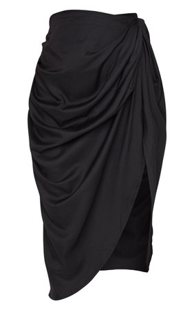 Black Ruched Side Midi Skirt | Skirts | PrettyLittleThing USA